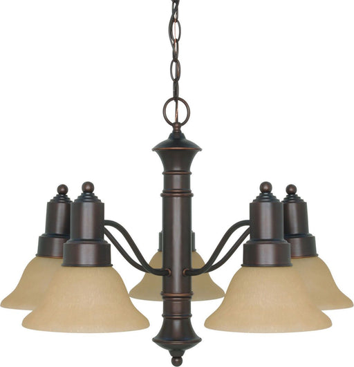 Nuvo Lighting 60-3103 Gotham Collection Five Light Energy Star Efficient GU24 Hanging Chandelier in Mahogany Bronze Finish