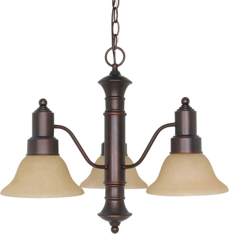 Nuvo Lighting 60-3104 Gotham Collection Three Light Energy Star Efficient GU24 Hanging Chandelier in Mahogany Bronze Finish