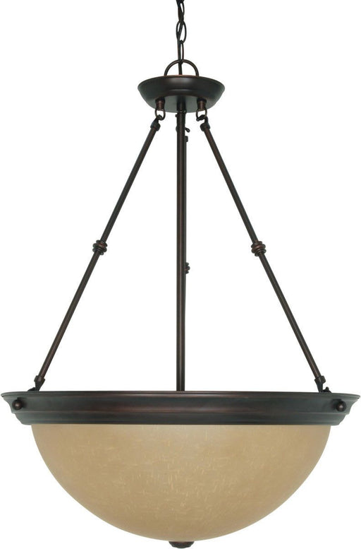 Nuvo Lighting 60-3113 Signature Collection Three Light Energy Star Efficient G24 Hanging Pendant Chandelier in Mahogany Bronze Finish
