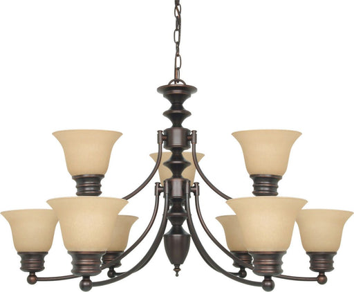 Nuvo Lighting 60-3131 Empire Collection Nine Light Energy Star Efficient GU24 Hanging Chandelier in Mahogany Bronze Finish