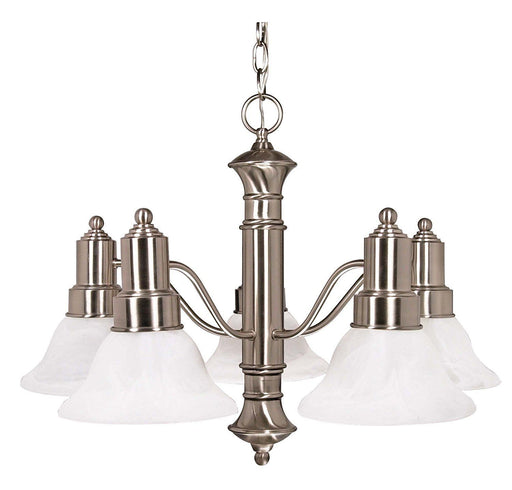 Nuvo Lighting 60-3182 Gotham Collection Five Light Energy Star Efficient GU24 Hanging Chandelier in Brushed Nickel Finish