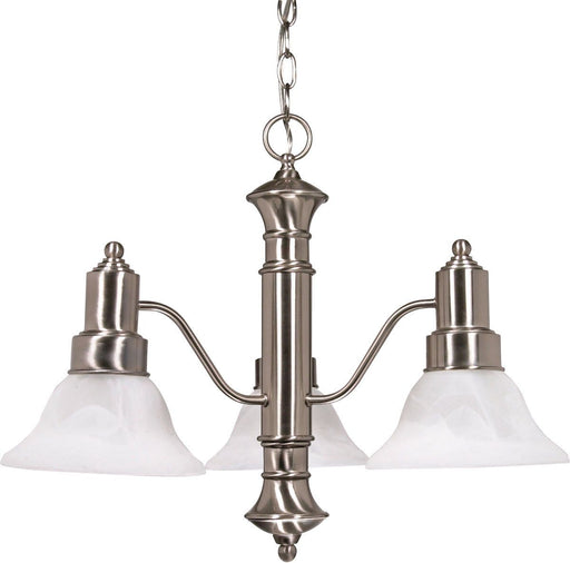 Nuvo Lighting 60-3183 Gotham Collection Three Light Energy Star Efficient GU24 Hanging Chandelier in Brushed Nickel Finish