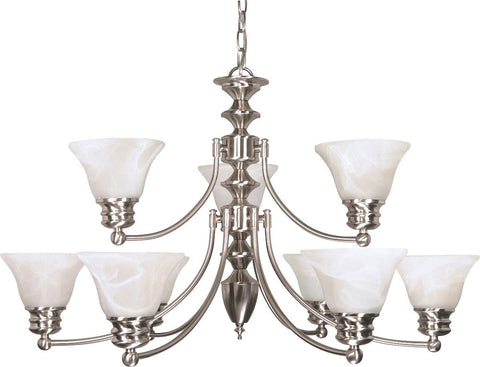 Nuvo Lighting 60-3196 Empire Collection Nine Light Energy Star Efficient GU24 Hanging Chandelier in Brushed Nickel Finish