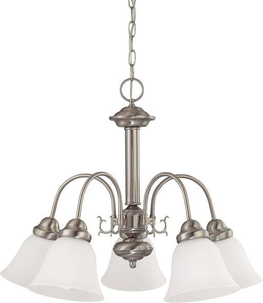 Nuvo Lighting 60-3290 Ballerina Collection Five Light Energy Star Efficient GU24 Hanging Chandelier in Brushed Nickel Finish