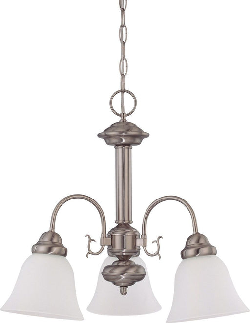 Nuvo Lighting 60-3291 Ballerina Collection Three Light Energy Star Efficient GU24 Hanging Chandelier in Brushed Nickel Finish
