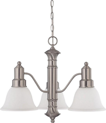 Nuvo Lighting 60-3293 Gotham Collection Three Light Energy Star Efficient GU24 Hanging Chandelier in Brushed Nickel Finish