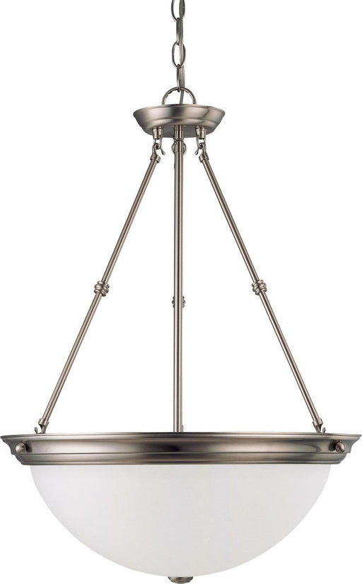 Nuvo Lighting 60-3298 Signature Collection Three Light Energy Star Efficient GU24 Hanging Pendant Chandelier in Brushed Nickel Finish