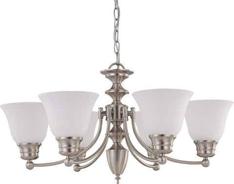 Nuvo Lighting 60-3305 Empire Collection Five Light Energy Star Efficient GU24 Hanging Chandelier in Brushed Nickel Finish