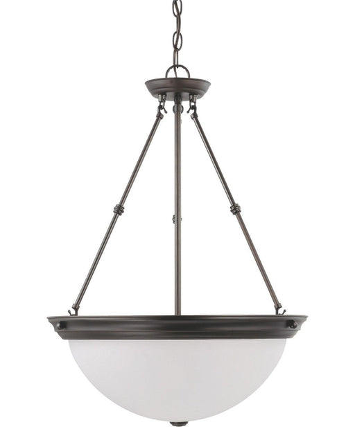Nuvo Lighting 60-3343 Signature Collection Three Light Energy Star Efficient G24 Hanging Pendant Chandelier in Mahogany Bronze Finish