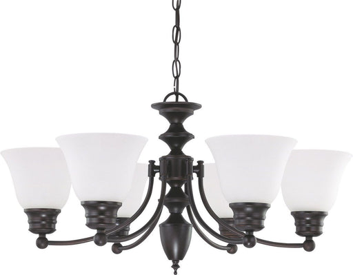 Nuvo Lighting 60-3359 Empire Collection Six Light Energy Star Efficient GU24 Hanging Chandelier in Mahogany Bronze Finish