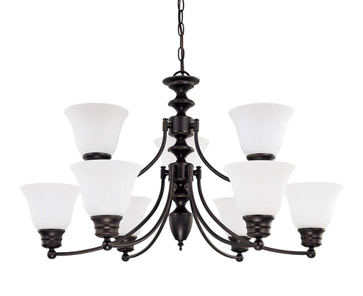 Nuvo Lighting 60-3361 Empire Collection Nine Light Energy Star Efficient GU24 Hanging Chandelier in Mahogany Bronze Finish