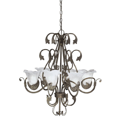 Aztec 34000 by Kichler Lighting Six Light Hanging Chandelier in Antique Iron Finish