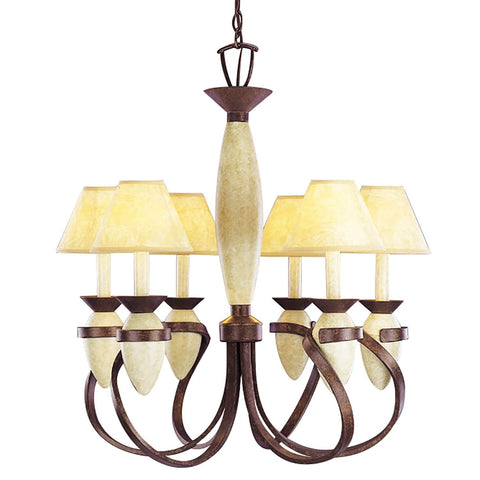 Aztec 34053 by Kichler Lighting Six Light Hanging Chandelier in Tannery Bronze and Wrought Iron Crackle Finish