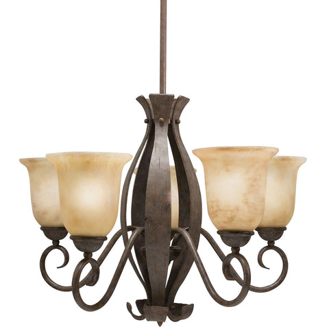 Aztec 34357 by Kichler Lighting Five Light Hanging Chandelier in Aged Bronze Iron Finish