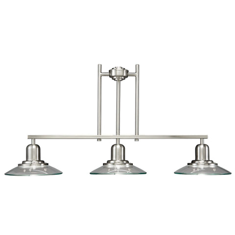 Aztec 34391 by Kichler Lighting Three Light Hanging Linear Island Chandelier in Brushed Nickel Finish