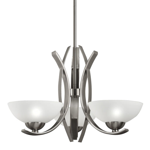 Aztec 34420 by Kichler Lighting Three Light Hanging Chandelier in Polished Nickel Finish