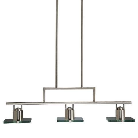 Aztec 34429 by Kichler Lighting Three Light LED Hanging Linear Island Chandelier in Brushed Nickel Finish