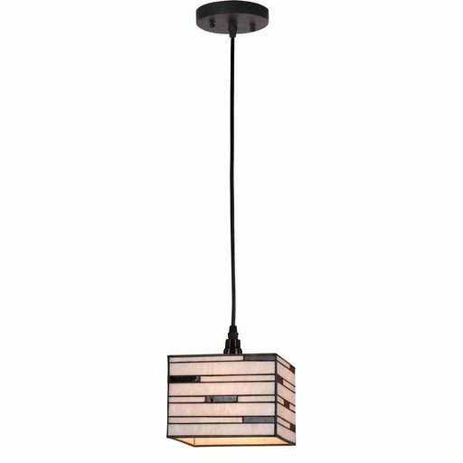 Aztec 34583 by Kichler Lighting Tiffany Style Box Shade One Light Hanging Mini Pendant in Black Finish