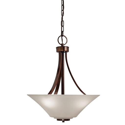Kichler Lighting 34633 Three Light Inverted Hanging Pendant Chandelier in Bronze Finish