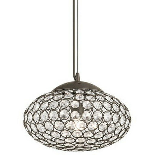 Kichler Lighting 34796 Krystal Ice Collection Oval One Light Hanging Mini Pendant in Olde Bronze Finish