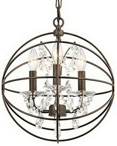 Kichler Lighting 34800 Coffee Copper Highlights Collection One Three Hanging ORB with Crystal Pendant in Olde Bronze Finish
