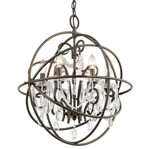 Aztec 34801 by Kichler Lighting Six Light Hanging Pendant Chandelier in Olde Bronze Finish with Crystal Accents