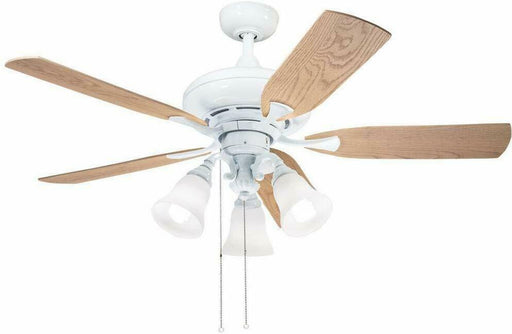 "Aztec by Kichler Lighting 35123 -  52"" Ceiling Fan with Light in White Finish with Oak and Maple Blades"
