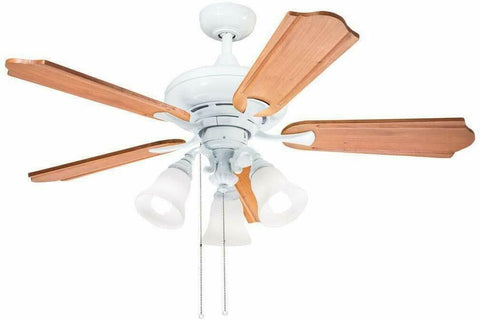 "Aztec by Kichler Lighting 35127 -  52"" Ceiling Fan with Light in White Finish with Cherry Blades"
