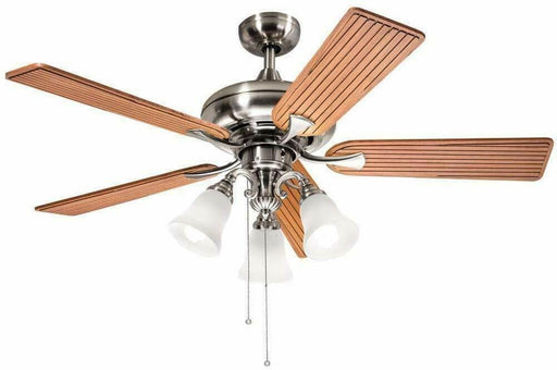 "Aztec by Kichler Lighting 35131 -  52"" Ceiling Fan with Light in Brushed Nickel Finish with Cherry Blades"