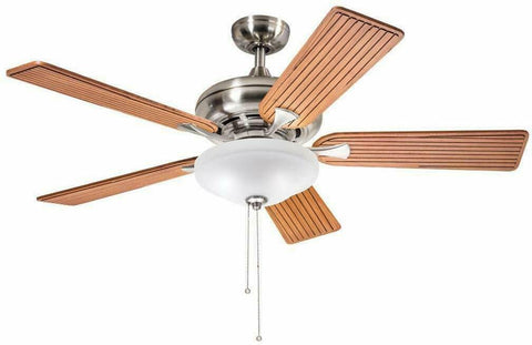 "Aztec by Kichler Lighting 35140 -  52"" Ceiling Fan with Light in Brushed Nickel Finish with Cherry Blades"