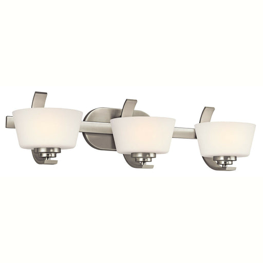 Aztec by Kichler Lighting 37933 Rise Collection Three Light Bath Vanity Wall Mount in Brushed Nickel Finish