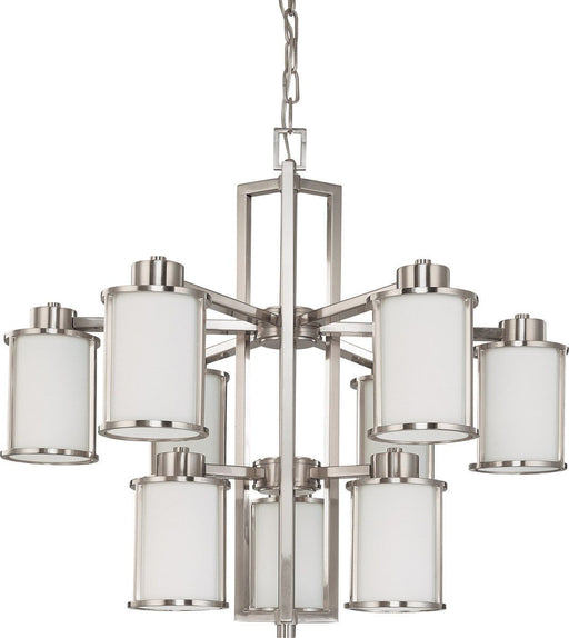 Nuvo Lighting 60-3809 Odeon Collection Nine Light Energy Star Efficient GU24 Hanging Chandelier in Brushed Nickel Finish