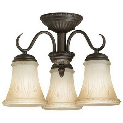 Kichler Lighting 38112 Three Light Semi Flush Ceiling Fixture in Carre Bronze Finish