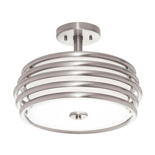 Kichler Lighting 38172 Two Light Semi Flush Ceiling Fixture in Brushed Nickel Finish