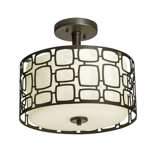 Kichler Lighting 38193 Sabine Collection Two Light Semi Flush Ceiling Fixture in Olde Bronze Finish