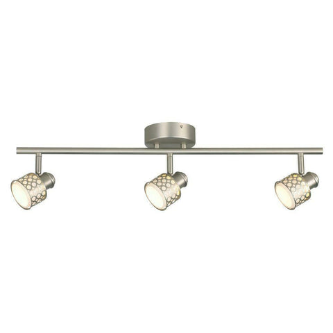CE 38672 Three Light LED Directional Linear Ceiling Fixture with Glass Basket in Brushed Nickel Finish