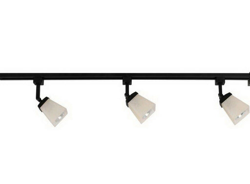 CE 38675-IL5028BK Three Light Linen Glass Linear Line Voltage Track Kit with Cord and Plug in Black Finish