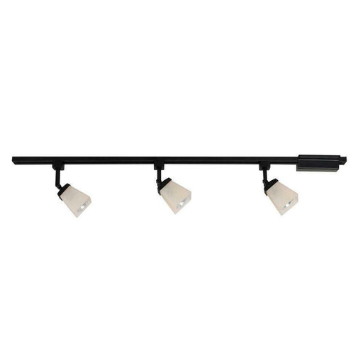 CE 38675 Three Light Linen Glass Linear Line Voltage Track Kit in Black Finish
