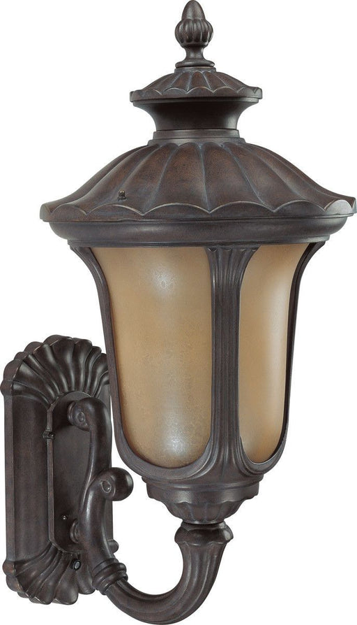 Nuvo Lighting 60-3901 Beaumont Collection One Light Energy Star Efficient GU24 Exterior Outdoor Wall Lantern in Fruitwood Finish