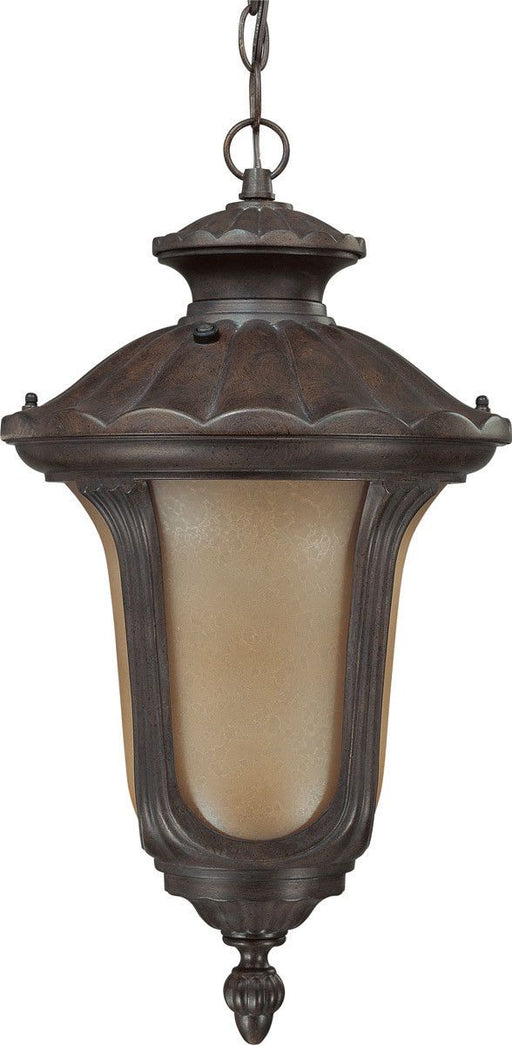 Nuvo Lighting 60-3908 Beaumont Collection One Light Energy Star Efficient GU24 Exterior Outdoor Hanging Lantern in Fruitwood Finish