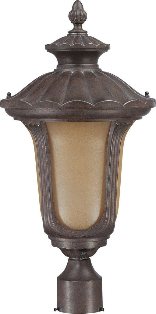 Nuvo Lighting 60-3909 Beaumont Collection One Light Energy Star Efficient GU24 Exterior Outdoor Post Lantern in Fruitwood Finish