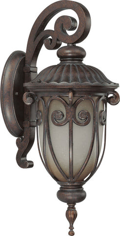 Nuvo Lighting 60-3926 Corniche Collection One Light Energy Efficient GU24 Exterior Outdoor Wall Lantern in Burlwood Finish