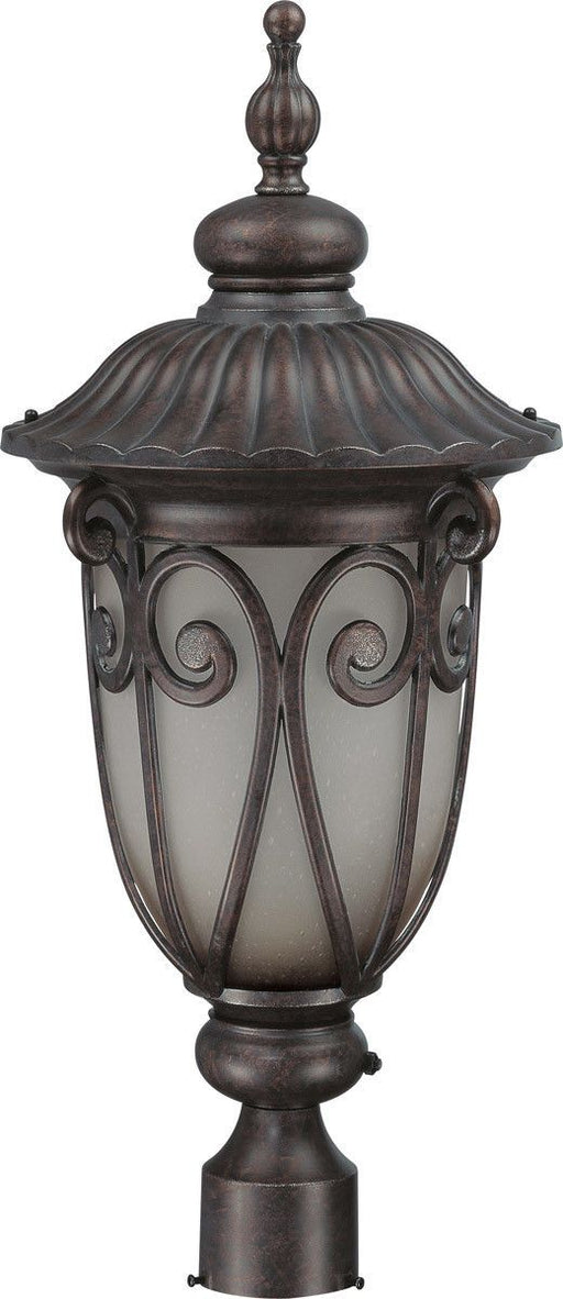 Nuvo Lighting 60-3931 Corniche Collection One Light Energy Efficient GU24 Exterior Outdoor Post Lantern in Burlwood Finish