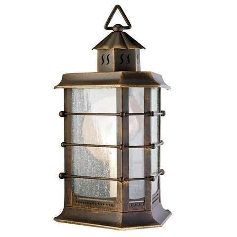 Aztec 39347 By Kichler Lighting Two Light Outdoor Wall Lantern in Distressed Solid Brass Finish