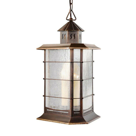 Aztec 39348 By Kichler Lighting Three Light Outdoor Hanging Lantern in Distressed Solid Brass Finish
