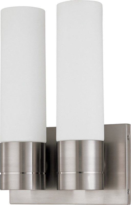 Nuvo Lighting 60-3957 Link Collection Two Light Energy Star Efficient GU24  Wall Sconce in Brushed Nickel Finish