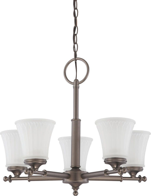 Nuvo Lighting 60-4015 Teller Collection Five Light Hanging Chandelier in Aged Pewter Finish