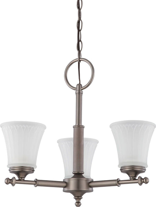 Nuvo Lighting 60-4016 Teller Collection Three Light Hanging Chandelier in Aged Pewter Finish