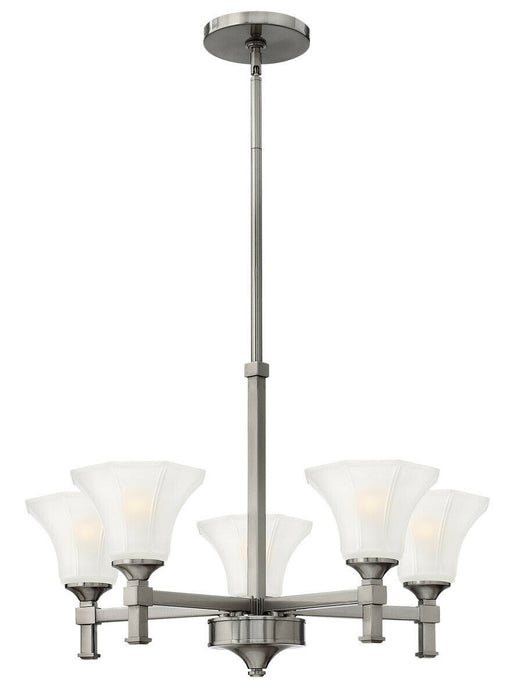 Hinkley Lighting 4045 BN Abbie Collection Five Light Hanging Chandelier in Brushed Nickel Finish