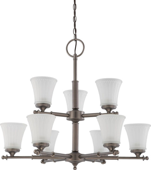 Nuvo Lighting 60-4019 Teller Collection Nine Light Hanging Chandelier in Aged Pewter Finish